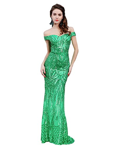 (Miss ord Women's V Neck Sequined Prom Banquet Party Maxi Dress Green Medium)