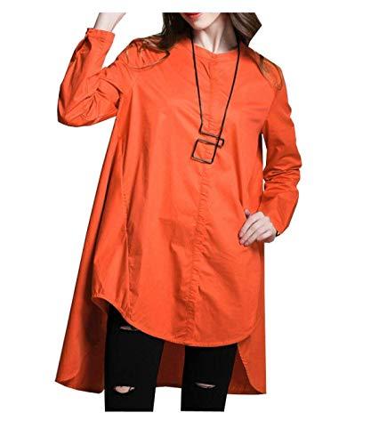 Camicetta Anteriori Ragazza Tempo Tasche Manica Irregular Monocromo Libero Moda Giovane Autunno Donna Camicie Bluse Camicia Collo Di Arancia Baggy Chic Lunga Button Elegante Rotondo xwB1SqXv