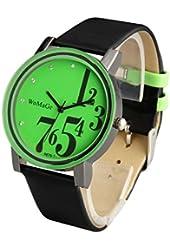 ShoppeWatch Mens Big Face Watch Green Dial Unisex Black Band Reloj para Dama SW9678-1BKGR