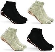 Kids Trampoline Socks Anti-Skid Non Slip Sticky Grips Socks 4 Pairs for Pilates, Ballet, Barefoot Workout