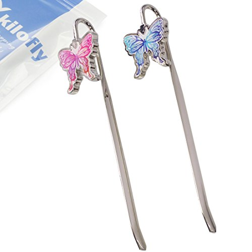 kilofly Arched Metal Butterfly Hook Bookmark Page Marker Value Pack, Set of 2