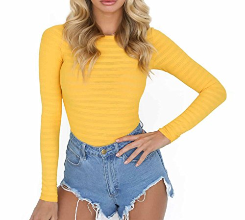 (PALINDA Women's Long Sleeve Striped Basic Solid Round Neck Bodysuit Stretchy Leotards (M,Yellow))