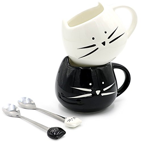 Teagas Cat Coffee Mugs for Crazy Cat Lady  Black amp White Ceramic Cat Coffee Mugs and Cute Cat Spoons Set for Coffee Tea 12oz