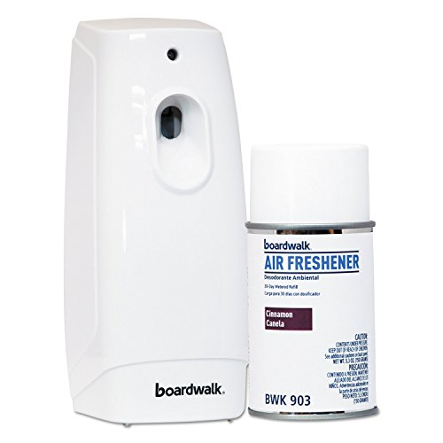 Boardwalk 907 Air Freshener Dispenser Starter Kit, White, Cinnamon Sunset, 5.3 oz