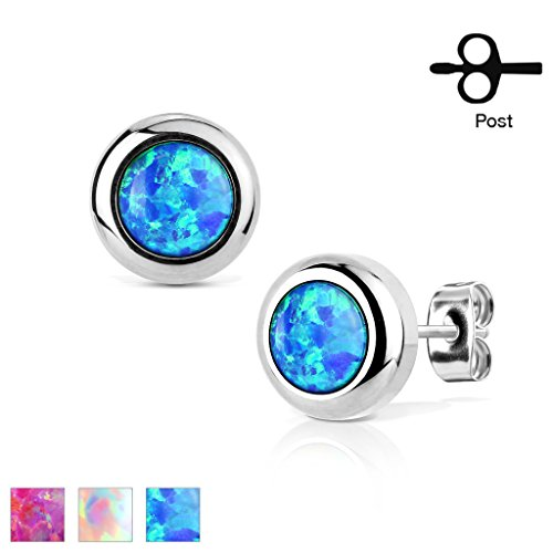 Pair of 316L Surgical Stainless Steel Stud Earrings with Bezeled Synthetic Opal (Blue)