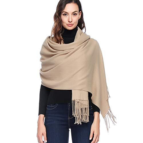 - HOYAYO Cashmere Wool Shawl Wraps - Extra Large Thick Soft Pashmina Scarf(Light Camel)