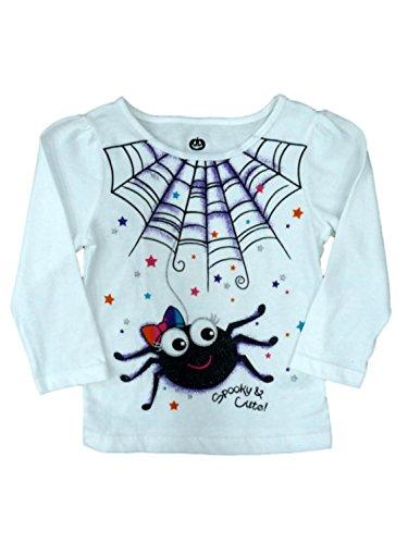 Happy Halloween Infant Girls White Spooky & Cute! T-shirt Spider Tee Shirt (Walmart Halloween Shirts)