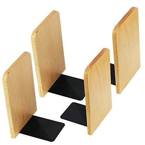 - SNAGAROG 4 PCS Wooden Books Holder Style Wooden Book Holder Color Register Book Bookends for Home, Office, School Books