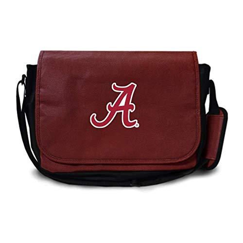 Zumer Sport Alabama Crimson Tide Football Leather Laptop Computer Case Messenger Shoulder Bag - Made from Actual Football Materials - Brown