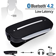 Avantree aptX LOW LATENCY Bluetooth Adapter for Headphones with Clip / Microphone, BT 4.2, Wireless Audio Receiver for Handsfree Call and Music - Clipper Pro