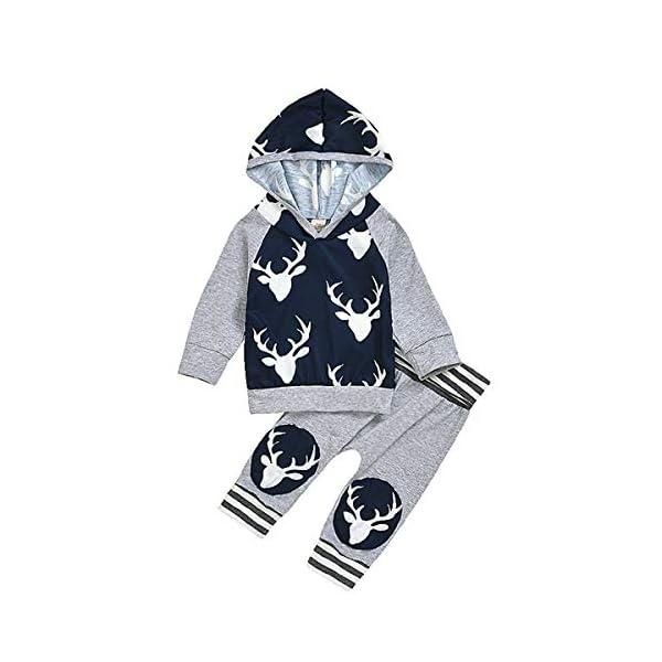 Kerrian Online Fashions 417Zl4t-8eL Toddler Baby Boys Girls Clothes Long Sleeve Deer Print Hoodie Pants Sweatshirt Fall Winter Outfit Set