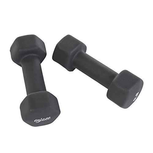 Enjoee 5lbs Grey Neoprene Dumbbell Fitness Sports Euqipments, Set of 2