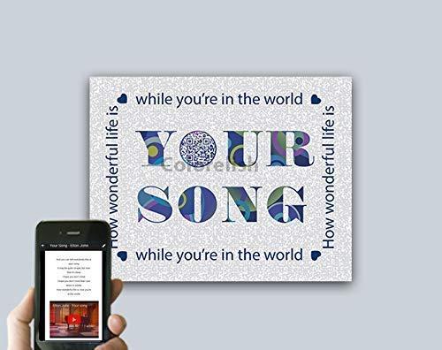 - Your Song Elton John QR Code Song Art, Unique Tech Wedding Anniversary Gift for Best Friend, First Paper Anniversary Gift for Him or Her, First Dance Music Lyric Wall Art, Paper Print Only