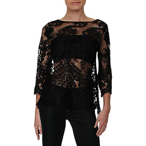 Karen Kane Womens Lace Mesh Inset Blouse Black S ()