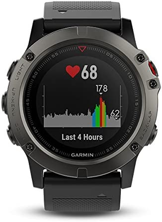 Garmin Fenix 5X- Reloj GPS con pulsómetro, zafiro gris con correa negra, talla 51 mm