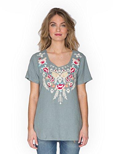 JWLA By Johnny Was Shale Grey Sawyer Linen T-Shirt (Medium)