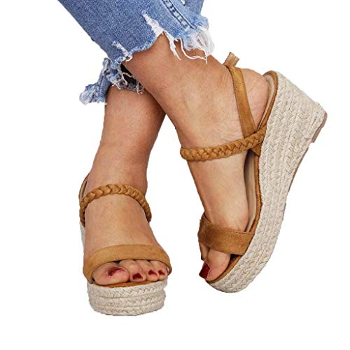 Cewtolkar Women Summer Shoes Platform Wedges Sandals Hand Woven Shoes Fish Mouth Sandals Loafers Shoes Buckle Sandals Brown