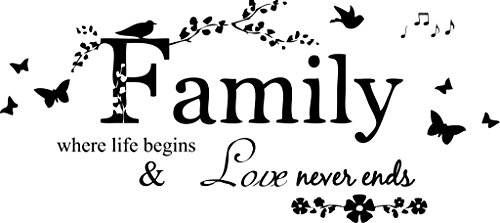 (Blinggo Family Letter Quote Removable Vinyl Decal Art Mural Home Decor Wall Stickers)