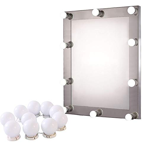 (LED Light Makeup Mirror, WensLTD Hollywood Style LED Vanity Mirror Lights Kit with 10pcs Dimmable Light Bulbs (Ship from US!!!))