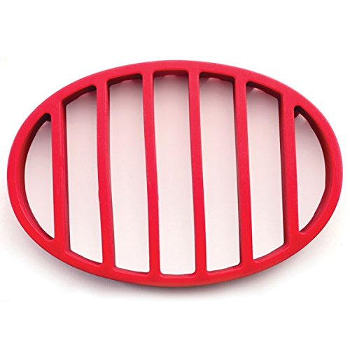 Roast Rack Oval (Nonstick Flat Oval Round Roasting Rack Pan for Healthy Turkey with FDA Approved, Red)