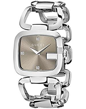 G-Gucci Diamond-Accented Stainless Steel Women's Watch(Model:YA125401)