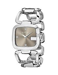 Gucci Women's YA125401 G-Gucci Medium Diamond Brown Dial Steel Watch