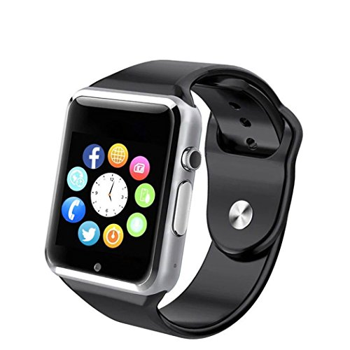 FATMOON Smart Watch Phone, Bluetooth Unlocked Watch Cell Phone with 1.54 Inch Screen GSM 2G for Android iPhone,Samsung Galaxy Note series,Nexcus,HTC etc (Black)