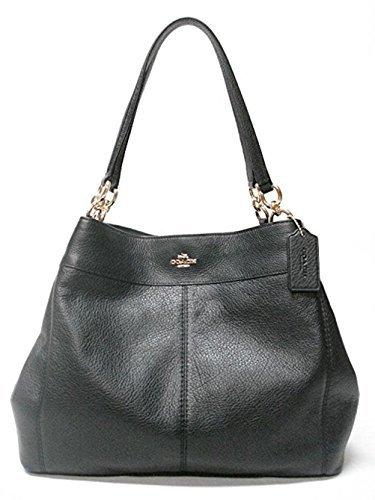 Coach F57545 Lexy Pebble Leather Shoulder Bag (Black) ()
