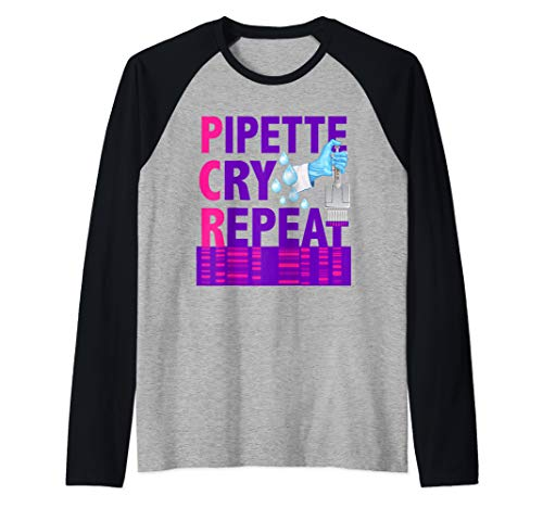 PCR - Pipette Cry Repeat for DNA Lab Scientists Gift Raglan Baseball Tee