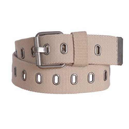 Sunny Belt Women's Adjustable Military Canvas Web Belt with Metal Buckle (Tan, Large)