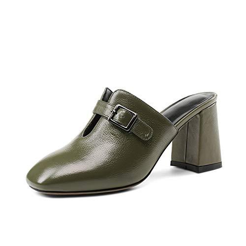 Sandalias Altos Vaca Cuadrados Grandes Mujer Verano Oficina Genuino Green Zapatos 33 Army Negro Hoesczs 41 Cuero De Tallas Tacones 06w4R