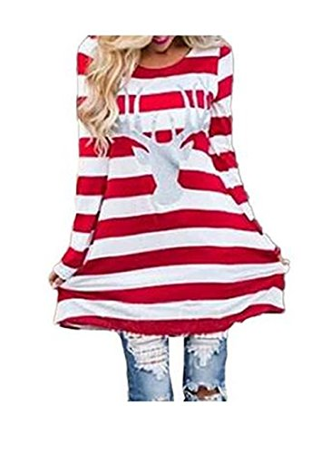 Mallcat Women Stripe Dress Christmas Elk Casual Dress (XXL)