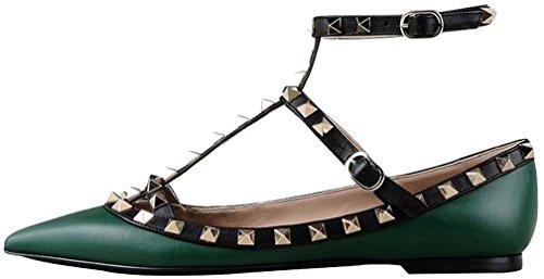 Calaier Mujer Cahouse Plataforma 0CM Sintético Hebilla Sandalias de vestir Zapatos Verde