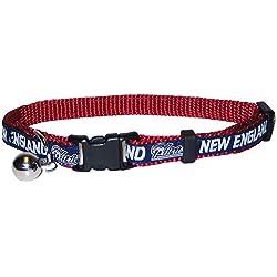 NFL Collar para Gato. Collar para Gato Fuerte y Ajustable con Cascabel de Metal, New England Patriots, Cat Collar 8-12 Inches