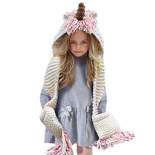 - Tacobear Crochet Cartoon Unicorn Winter Hat with Scarf Pocket Hooded Knitting Beanie for Girls, COlor: Long, One Size