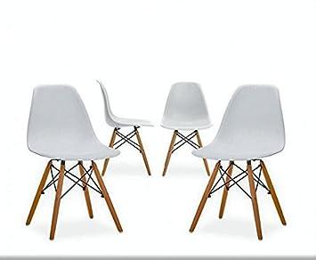 SERMAHOME - Pack de 4 sillas Modernas nordicas. Color Blanco. Patas de Madera Haya.