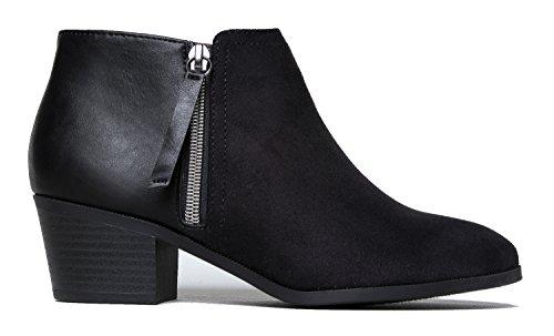 Western Ankle Boot Cowgirl Niedriger Absatz Geschlossene Zehe Casual Bootie Schwarz***