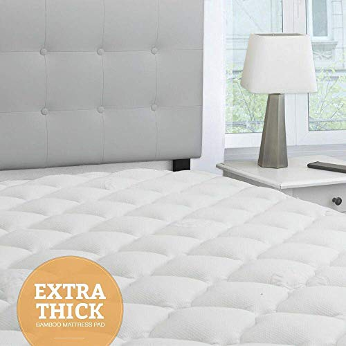 eLuxurySupply Bamboo Extra Thick Mattress Pad utilizing Fitted Skirt - Extra Plush Cooling Topper - Hypoallergenic - Proudly Made in The USA (Queen)