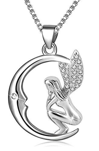 Long Way 925 Sterling Silver Moon Guardian Angel Wings Pendant Necklace for Girls Women