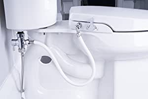 GenieBidet Seat - Self Cleaning Dual Nozzles. Rear & Feminine Cleaning - No wiring required. Simple 20-45 minute installation or less. Hybrid T with ON/OFF Included! (ROUND)