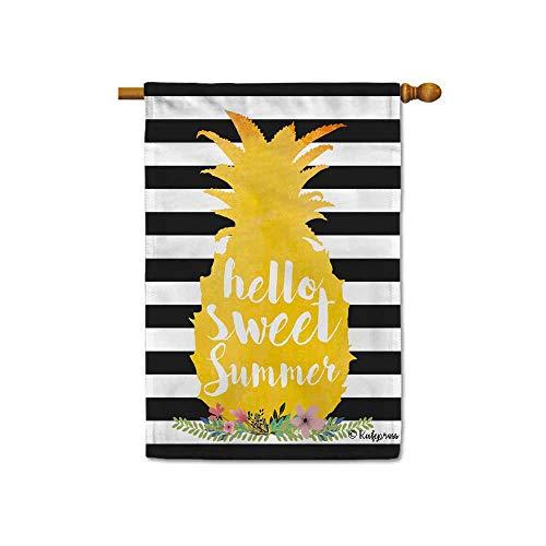 KafePross Hello Sweet Summer Pineapple House Flag Stripes Seasonal Banner 28