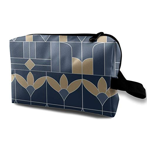 1217 Glasses - Art Deco Stained Glass WindowBlues And Gold_1217 Toiletry Bag Cosmetic Bag Portable Makeup Pouch Travel Hanging Organizer Bag For Women girl 10x5x6.2 inch