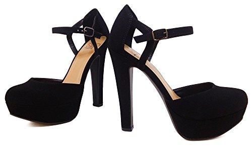 Nb Heel Closed Platform Suede Faux Henley Black Add Women's strap Toe High Delicious T qIR7vww