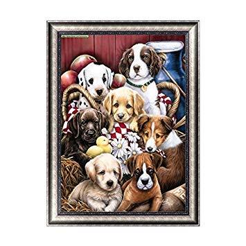 Kofun DIY Cute Dogs 5D Diamond Painting Crystal Embroidery Crafts Cross Stitch Art Craft Home Room Wall Decor 30x40 cm