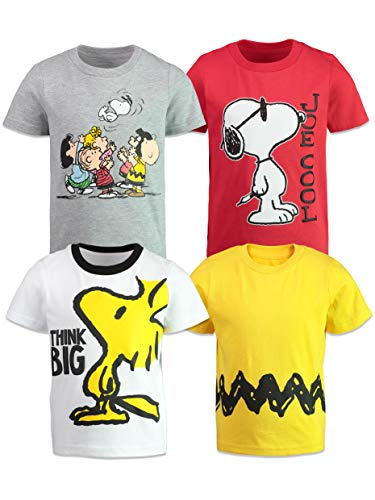 Peanuts Snoopy Charlie Brown Woodstock Baby and Toddler Boys T-Shirts 4 Pack