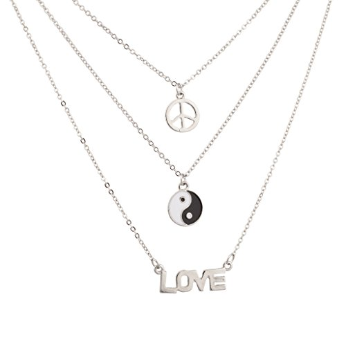 Lux Accessories 3 PC Love Ying Yang Peace Sign BFF Best Friends Forever Charm Necklace Set