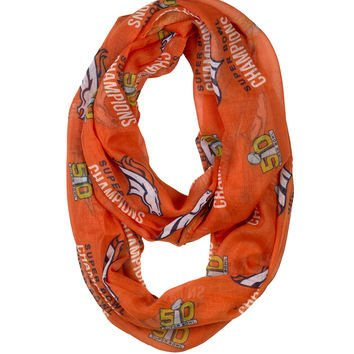 Bowl Broncos Super Team Denver - FOCO NFL Denver Broncos Denver Broncos Super Bowl 50 Champions Team Logo Infinity Scarf, One Size, Blue