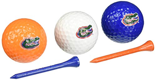 Team Golf NCAA Florida Gators Logo Imprinted Golf Balls (3 Count) & 2-3/4 Regulation Golf Tees (50 Count), Multi Colored
