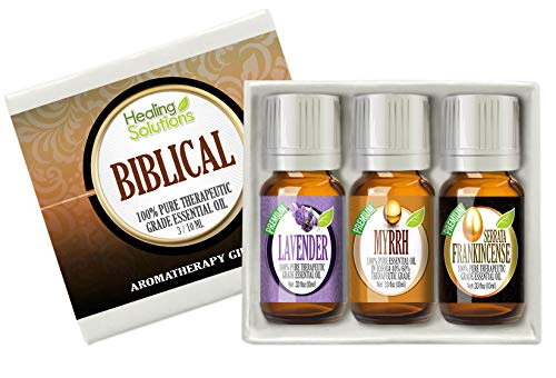 - Biblical Set 100% Pure Therapeutic Grade Aromatherapy Essential Oil Gift: Myrrh Frankincense Lavender
