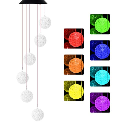 NSEN Solar String Lights, Solar Wind Chime, Outdoor Color-Changing Led Mobile for Home Yad Patio Garden (Crystal Ball) (Solar Lights String Hummingbird)